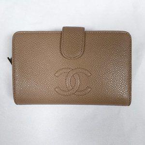 Chanel L-zip CC Leather Pocket Wallet Dark Beige